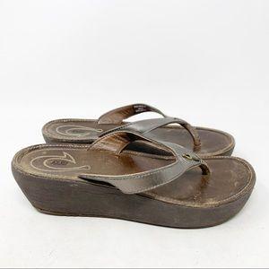 Olukai Hali'a wedge metallic sandals